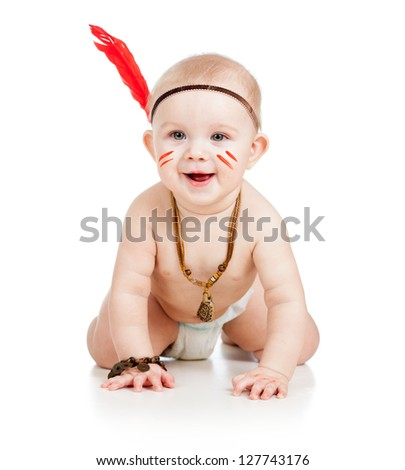 cheerful baby toddler isolated on white background - stock photo