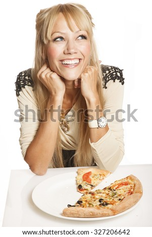 Cheerful blond fashion woman with pizza on white background