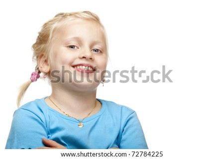 Cheerful blond girl smiles happy at camera. Isolated on white background. - stock photo