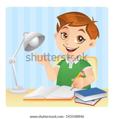 Cheerful boy doing his homework - stock photo