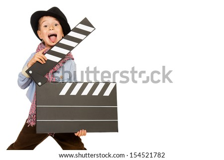 Cheerful boy holding clapper board. Different occupations. Isolated over white. - stock photo
