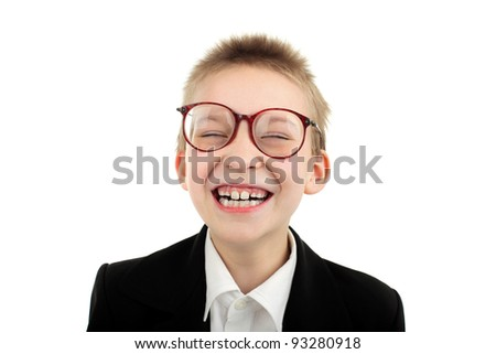 cheerful boy portrait isolated over white