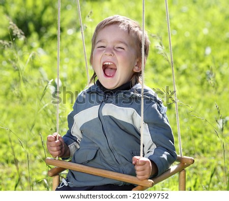 cheerful boy swinging on a swing on a background of green grass - stock photo
