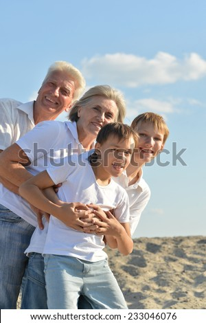 Cheerful boys with their grandparents on beach - stock photo