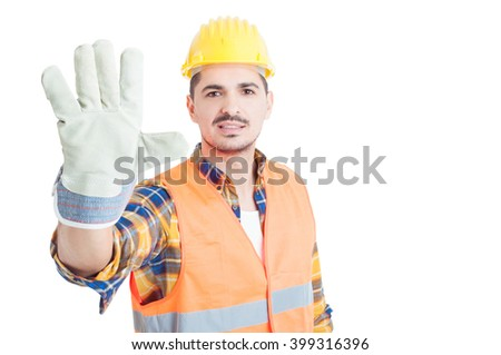 Cheerful builder showing number five or doing  high five gesture isolated on white with copy paste - stock photo