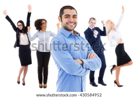 cheerful business man and happy business people celebrating something isolated on white background - stock photo