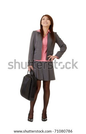 Cheerful business woman of Asian, full length portrait isolated on white.