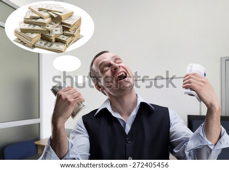 Cheerful businessman dreams about money - stock photo
