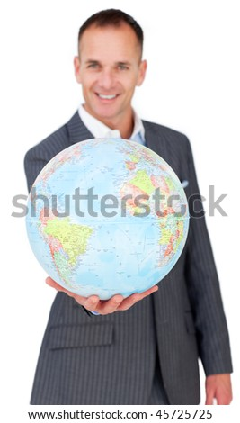 Cheerful businessman holding a terreatrial globe isolated on a white background - stock photo