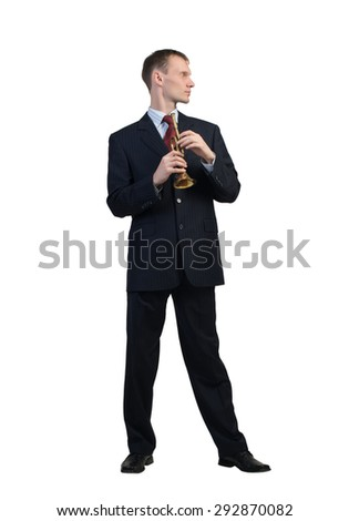 Cheerful businessman playing fife isolated on white background