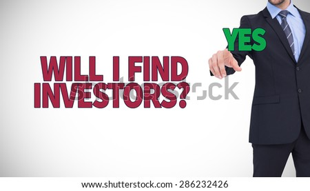 Cheerful businessman pointing at camera against white background with vignette - stock photo