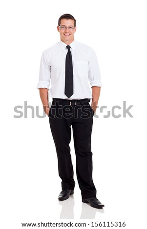 cheerful businessman posing on white background - stock photo