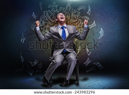 Cheerful businessman sitting on chair and screaming ahead - stock photo