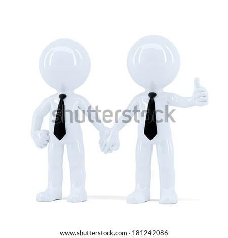 Cheerful businesspeople. Isolated. Contains clipping path - stock photo