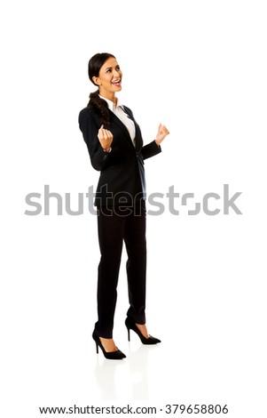 Cheerful businesswoman - stock photo