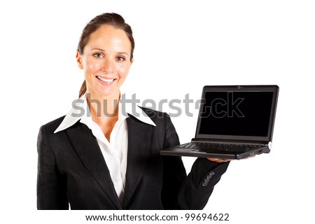 cheerful businesswoman presenting laptop computer on white - stock photo