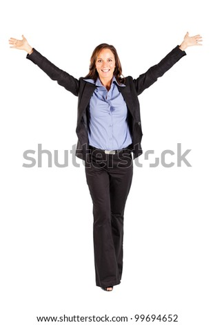 cheerful businesswoman with arms open - stock photo