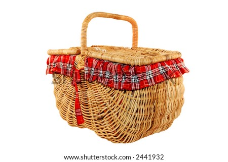 Cheerful cane picnic basket, isolated on white. - stock photo