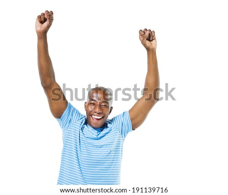 Cheerful Casual African Man Celebrating - stock photo