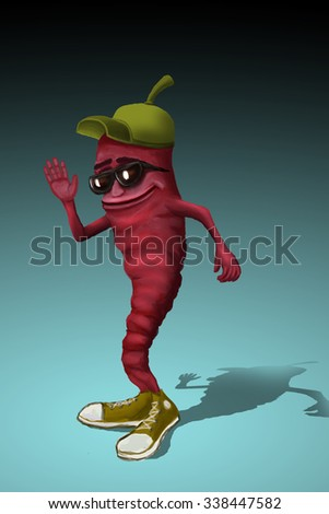 Cheerful character. Funny chili pepper