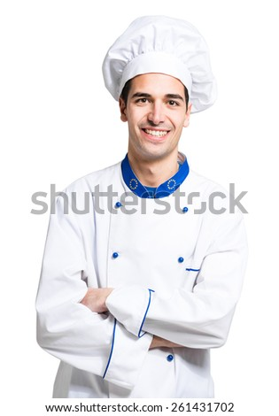 Cheerful chef isolated on white - stock photo