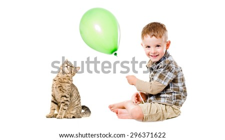 Cheerful child and cat Scottish Straight isolated on white background