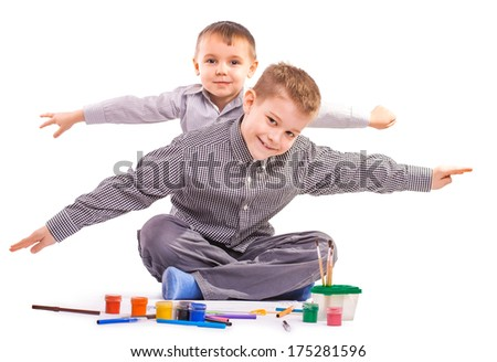 cheerful child is drawing. isolated - stock photo