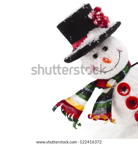 Cheerful Christmas snowman , isolated on white background - stock photo