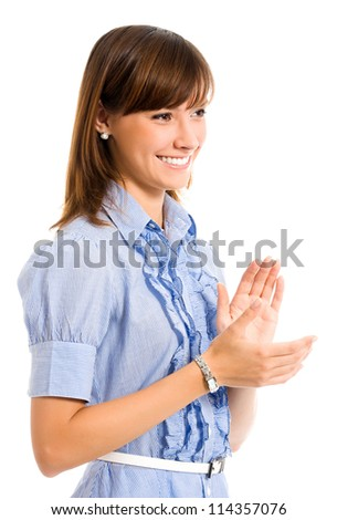 Cheerful clapping business woman, isolated over white background - stock photo