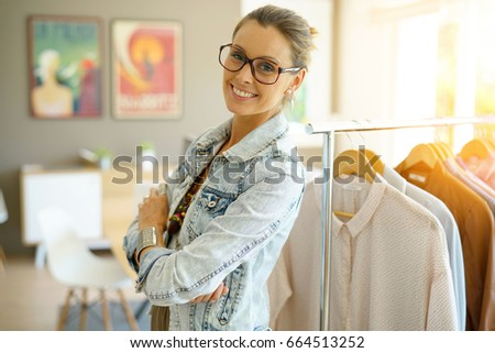 Cheerful Clothing Salesperson Standing Shop Stock Photo 664513252 ...