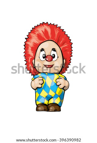 cheerful clown in a bright dress smiling and laugh. children's character - stock photo