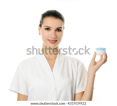 cheerful cosmetologist - stock photo