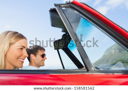 Cheerful couple going on holidays together on a sunny day - stock photo