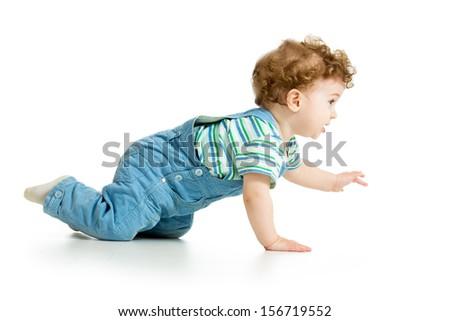 cheerful crawling baby boy isolated - stock photo