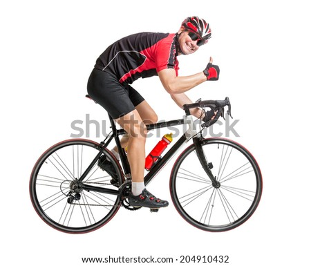 Cheerful cyclist with winning gesture riding a bike isolated on white background. Successful cyclist showing thumbs up.  The joy from sport and of victory.