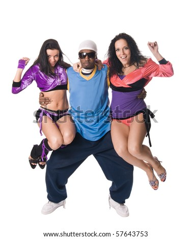 Cheerful dancing team of one black male and two go-go dancers - stock photo