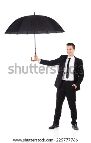 Cheerful elegance man holding an open umbrella. Full length studio shot isolated on white. - stock photo