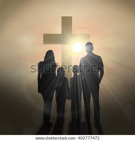 Cheerful family holding hands against dark background