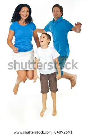 Cheerful family jumping together isolated on white background - stock photo