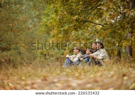 cheerful family of four relaxing in the park in autumn - stock photo