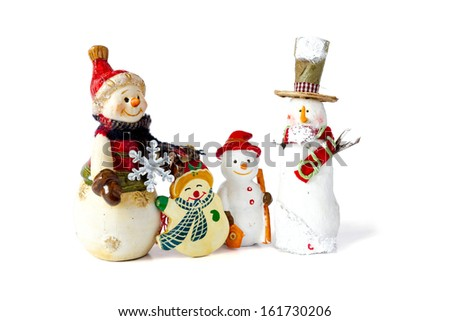 Cheerful family of snowmen, on a white background