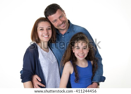 Cheerful family with a young girl isolated