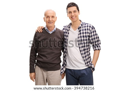 Cheerful father and son hugging and posing together isolated on white background - stock photo