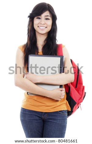 Cheerful female student isolated on white background - stock photo