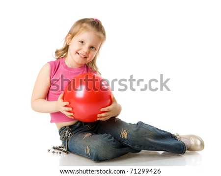 cheerful five years Girl holding ball isolated on white - stock photo