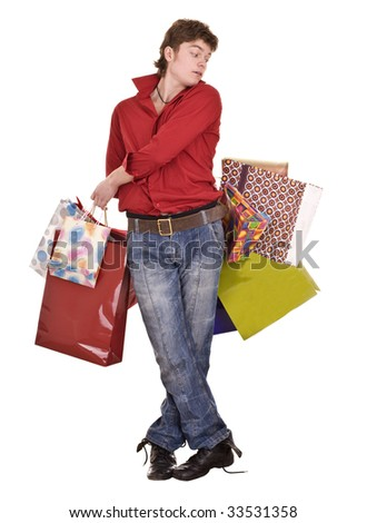 Cheerful funny happy shopping man. Isolated.