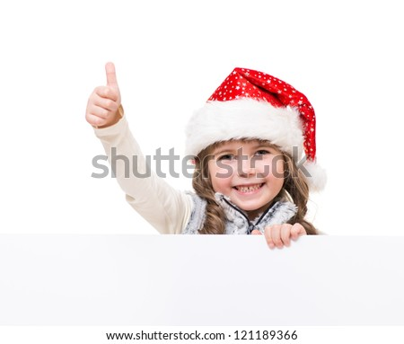 cheerful girl holding white board and showing ok sign - stock photo
