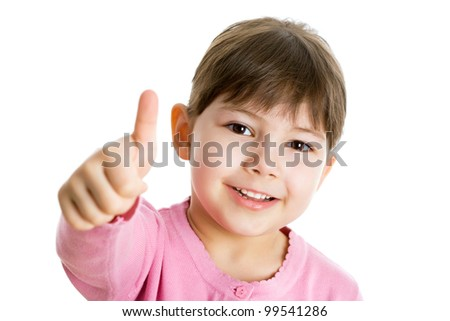 Cheerful girl showing thumbs up isolated one white background