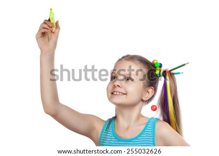 cheerful girl writes marker on a white background - stock photo