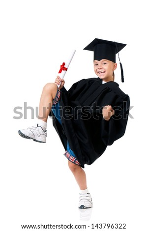 Cheerful graduate boy student in mantle with diploma, isolated on white background - stock photo